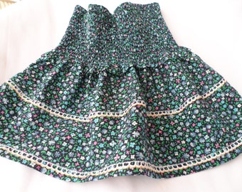 Buggy floral blue-green skirt/Gift cotton skirt for 2,3,4,5,6years old girl/Baby floral skirt/Easter,Christmas skirt with french laces.