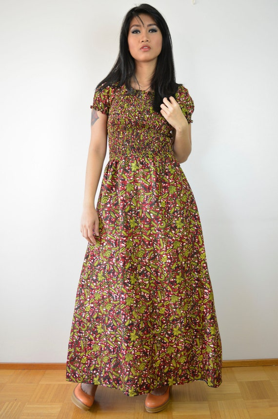 Floral African Prints maxi Dress, Pleated maxi dress