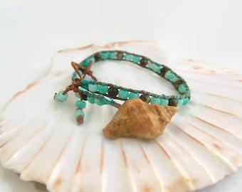 beach jewelry seashell bracelet beach girl gift beaded boho bracelet seed bead wrap bracelet sea shell bracelet sea shell
