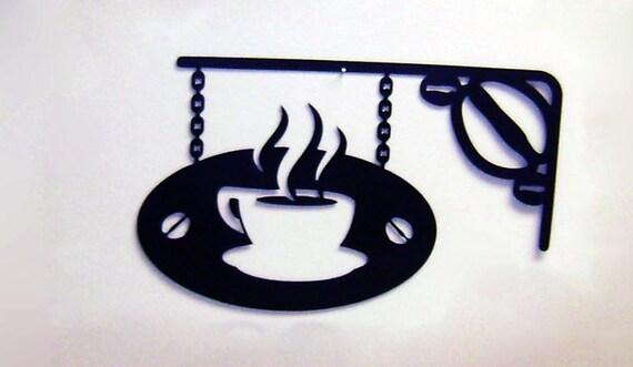 "Items Similar To 12"" Black Metal Coffee Mug Chain Sign"