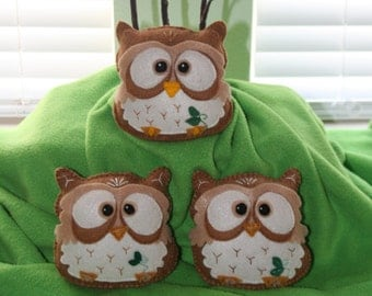 1 Cute felt  stuffed owl
