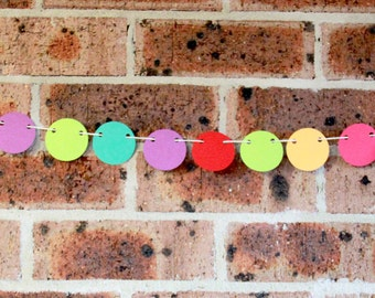 Circle Bunting - Brightly Coloured Decorations | Paper Bunting | Nursery Decor | 1st Birthday Party Decorations | Paper Bunting
