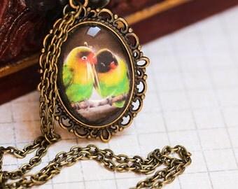 Love Bird Antique style Necklace