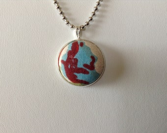 One of a kind unique teal, red and white fabric button necklace on silver ball chain.