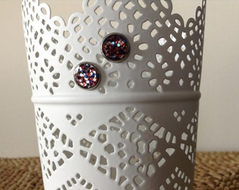 Merica! Heck yeah! Red, Silver and Blue glitter silver 10mm post earrings.