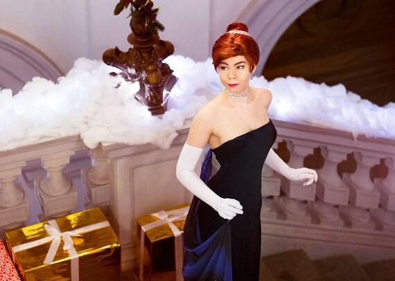 Evening dress anastasia princess costume cosplay movie cartoon - Costume princesse disney adulte ...