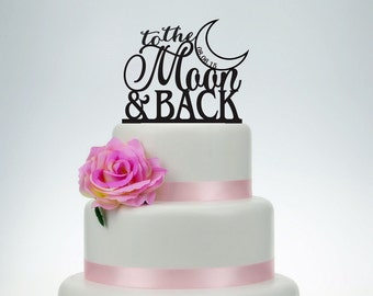 Wedding Cake Topper,to the moon and back cake topper,Custom Cake Topper P026
