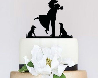 Wedding Cake Topper,Groom and Bride with dogs, Dog Cake Topper,Custom Cake Topper,Pet Cake Topper,Unique Cake Topper, Couple Silhouette P109