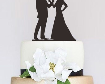 Wedding Cake Topper,Drinking Couple Silhouette,Groom and Bride Topper,Wedding Decoration,Custom Cake Topper,Unique Cake Topper P105