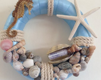 Beach shell wreath with seahorse and starfish