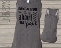funny running shirt - runners flowy tank top because i'm all about that pace running flowy tank top