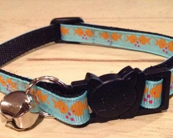 3/8 Wide Custom Made Adjustable Aqua with Fish Grosgrain Cat Collar