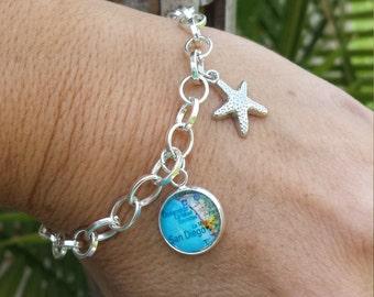 Custom Map Charm Bracelet or Anklet