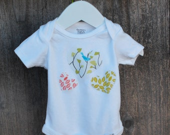 Organic Onesie - Altered, White, Coral, Yellow, Hearts, 0-3 mos. - Ready to Ship