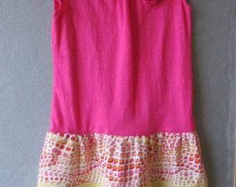 Hot Pink Ruffled Sleeve t-shirt dress