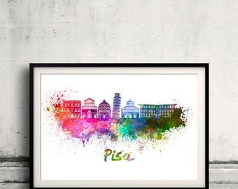 Pisa skyline in watercolor over white background with name of city 8x10 in. to 12x16 in. Poster art Illustration Print  - SKU 0565