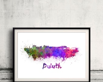 Duluth skyline in watercolor over white background with name of city 8x10 in. to 12x16 in. Poster art Illustration Print  - SKU 0569