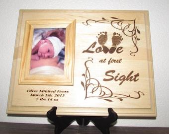 Pesonalized Baby Frame,Your Baby's Footprints Laser Engraved, Nursery Decor, Newbown Gift, Baby Footprints Keepsake