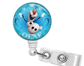 Olaf Retractable badge, ID badge holder, Decorated badge, Small gift, snowman, winter