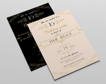 Retro Birthday Invitation Template Gold Birthday Invitation - Retro birthday invitation template