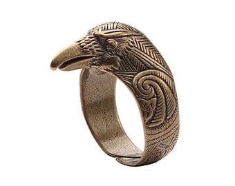 Ravens ring. Bronze Raven head ring. Viking Raven Head Ring Jewel. Celtic Pagan Jewelry. Jewellery Rings