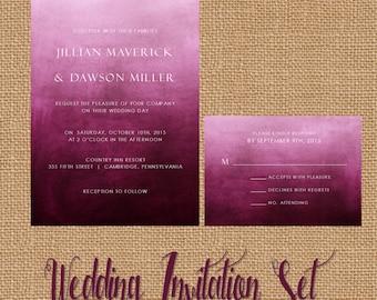 Watercolor Wedding Invitations, Wedding Invitation, Watercolor, Ombre, Purple, Plum