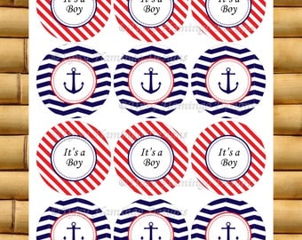 Baby Shower, Decor - Buttons, Tags, Stickers, Cupcake Toppers More, Nautical Theme, Anchor, It's A Boy, Printable Instant Download-TFD310
