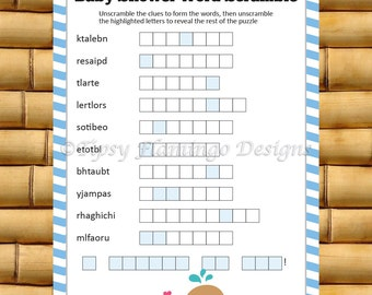 Baby Shower Game, Baby Word Scramble, Shower Game, Word Scramble, Party Supplies, Blue and White, Printable, Instant Download - TFD336