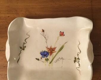 Vintage Porcelain Dish Hand Painted Floral Motif   Barbara Baatz   Signed by Artist   Art Porcelain   Storage Piece   Trinket Candy Dish