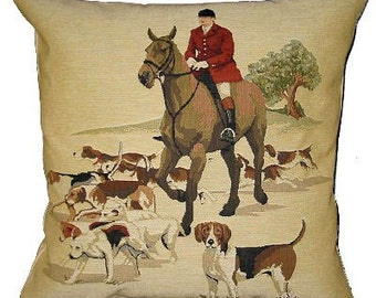 jacquard woven belgian tapestry cushion foxhunter with beagles