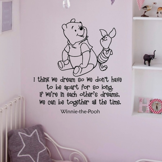 Items similar to wall decal winnie the pooh quote i think for Classic pooh wall mural