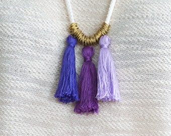Ombre Necklace, Rope Necklace, Tassel Necklace, Cotton Cord Necklace,Nautical Rope,Nautical Jewelry,Tassel,Ombre Tassels,Purple Necklace