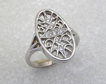 Diamond ring,  vintage style diamond ring, art deco diamond ring, white diamond ring,  diamond ring, 14K white gold engagement diamond ring,