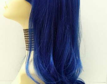 Long 26 inch Straight Sapphire Blue Wig. Dark Blue Wig. Cosplay Wig. Straight with Bangs and Wavy at Ends. [14-101-Cara-DBlue]