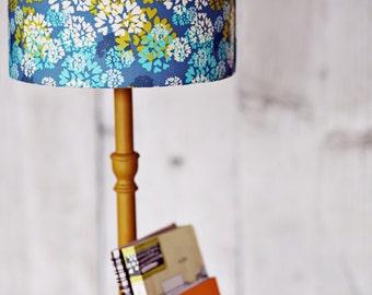 Blue Lampshade, table lamp, floor lamp, ceiling light, Fabric Lampshade, Drum lamp shade, lampshade, blue lighting, handmade lamp shade