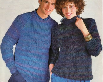 Knitting Pattern PDF for His and Hers Fisherman Rib Sweater 32 - 46 inches