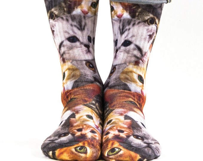 Samson® Cats Kitties Sublimation Hand Printed Socks Animals Grey Ginger Quality Print UK