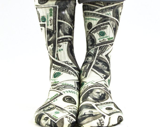 Samson® Dollars Hand Printed Socks Sublimation Money Currency Bill Quality Print UK