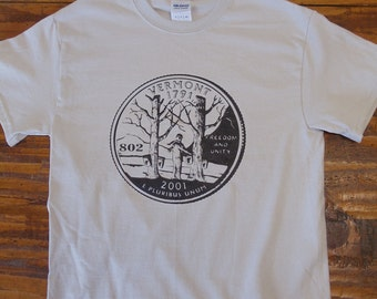 Vermont State Quarter T-Shirt - vermont clothing - vermont store - vermont clothes - 802 clothing - 802 shop - Vermont shirt - VT Tee