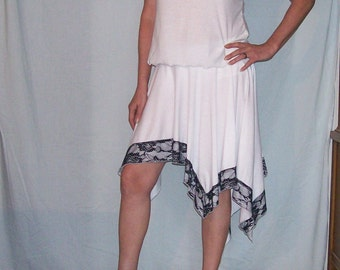 Womens dress, skirt, top, back and white