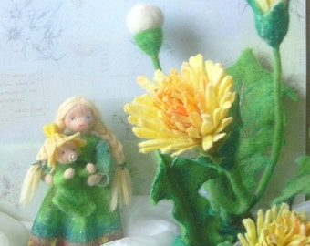 Dandelion, Waldorf inspired, wet felted doll of the season