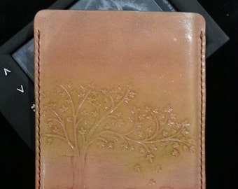 Sony Reader PRS-T2 Leather case /eBook sleeve /tree & pumpkins/ hand tooled