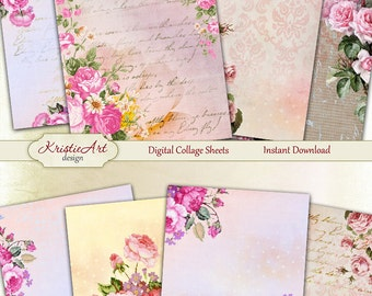 75% OFF SALE Pink Roses - Digital Collage Sheet Digital Cards C092 Printable Download Image Tags Digital Roses Atc Cards ACEO Flowers Cards