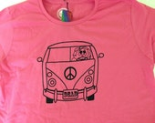 Jerry VW Bus  T Shirt.  On 100% cotton, ring-spun women's pink T. For the Grateful Dead fan.Screen printed by hand on both front and back.