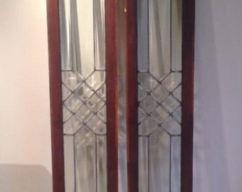 Two Antique Beveled/Lead Glass Windows