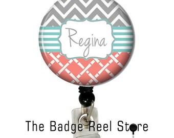 Badge Holder  - Retractable ID Badge Reel -  Badge Reel -   Chevron Trio