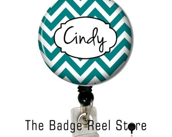 Retractable ID Badge Holder, Name Tag, Personalized, Name, Badge Reel, ID holder, Identification , Lanyard,  Nurse, Chevron teal