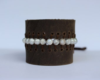 Leather Cuff Bracelet with Fresh Water Pearls