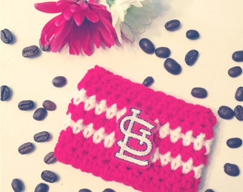 Cardinals inspired coffee cozy