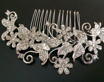 Butterfly bridal comb, wedding hair comb, wedding comb, bridal hair comb, wedding hair accessories, vintage comb, crystal comb, veil comb